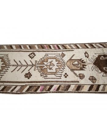 """Vintage Brown & Cream Wool Runner - 2`11"""" x 12`8"""""""