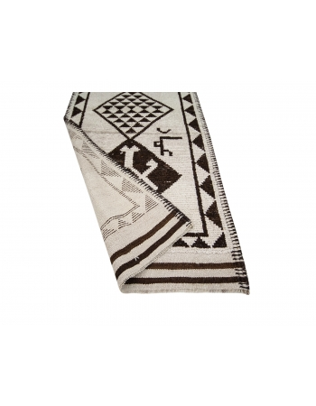 """Brown & Cream Vintage Wool Runner Rug - 2`10"""" x 12`5"""""""