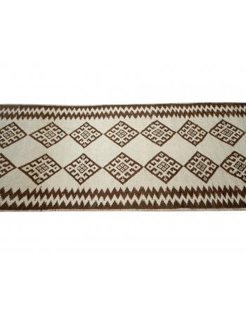 "Brown & White Vintage Runner Rug - 2`9"" x 13`3"""