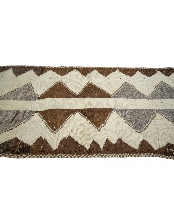 "White & Brown Vintage Runner Rug - 3`3"" x 13`1"""