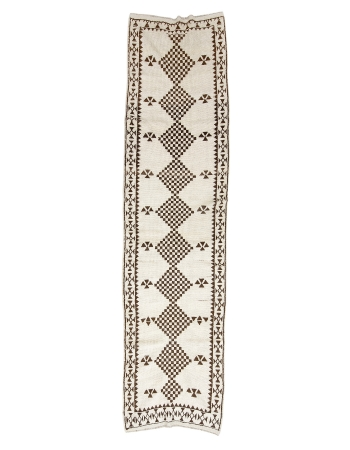 "Vintage Brown & White Herki Runner - 3`1"" x 12`1"""