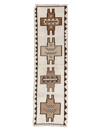"Cream & Brown Vintage Herki Runner - 3`1"" x 11`6"""