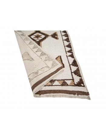 "Brown & White Natural Wool Runner - 2`11"" x 11`6"""
