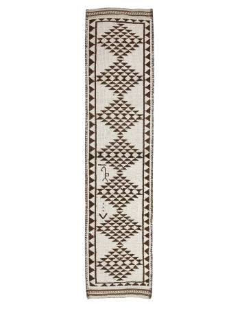 "Brown & Cream Vintage Wool Runner - 2`9"" x 11`6"""