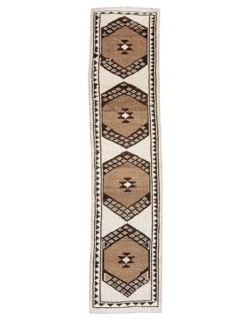 "Unique Modern Vintage Brown & Cream Runner - 2`7"" x 11`1"""
