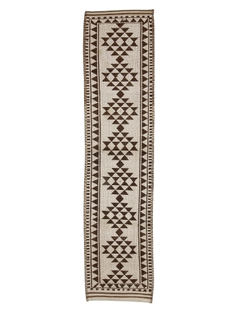 "Brown & White Vintage Wool Runner - 2`11"" x 12`10"""