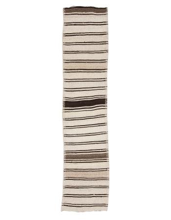 "Cream & Brown Striped Kilim Runner - 2`6"" x 11`6"""