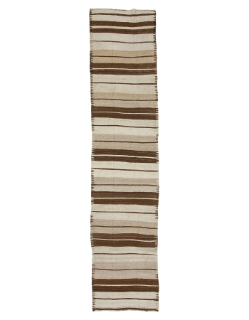 "Brown & Cream Vintage Kilim Runner Rug - 2`9"" x 13`1"""