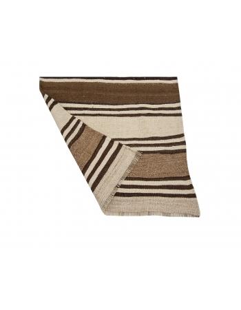 """Striped Vintage Brown Kilim Runner Rug - 2`7"""" x 12`0"""""""