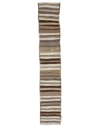 """Natural Vintage Striped Kilim Runner Rug - 2`6"""" x 14`5"""""""