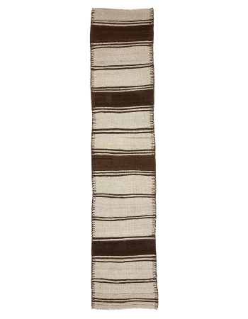 "Vintage Brown & Cream Striped Kilim Runner - 2`7"" x 12`0"""