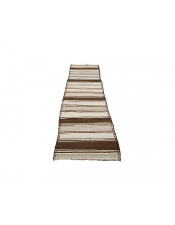 """Striped Vintage Brown Kilim Runner Rug - 2`11"""" x 11`6"""""""