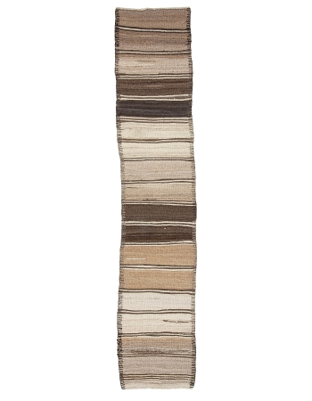 "Vintage Natural Brown Kilim Runner - 2`9"" x 13`9"""