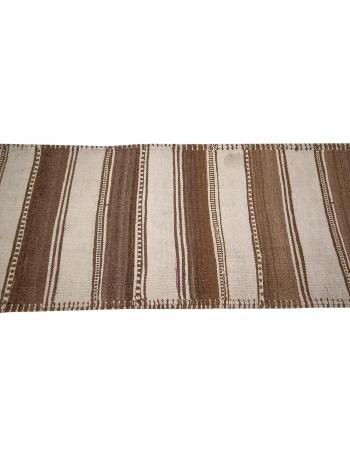 "Vintage Cream & Brown Striped Kilim Runner - 2`8"" x 13`0"""