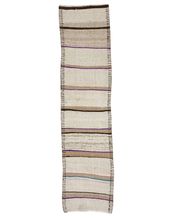 """Vintage Purple & Cream & Brown Striped Runner - 2`8"""" x 10`6"""""""
