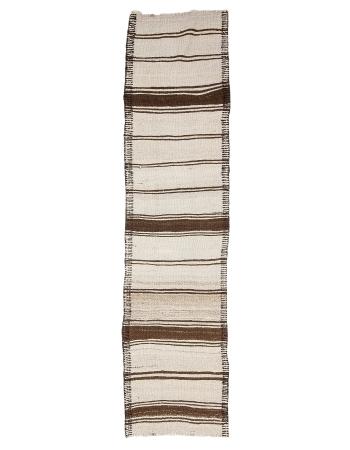 "Striped Brown & Cream Vintage Kilim Runner - 2`9"" x 11`4"""