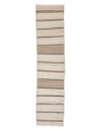 "Vintage Cream & Brown Wool Kilim Runner - 2`9"" x 11`10"""