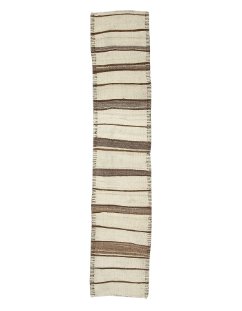 "Cream & Brown Striped Vintage Kilim Runner - 2`9"" x 12`10"""