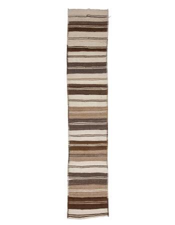 """Vintage Natural Wool Kilim Runner - 2`9"""" x 13`9"""""""