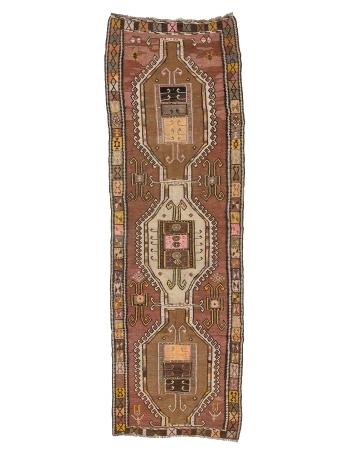 """Handwoven Vintage Turkish Kars Kilim Rug - 4`1"""" x 12`4"""""""