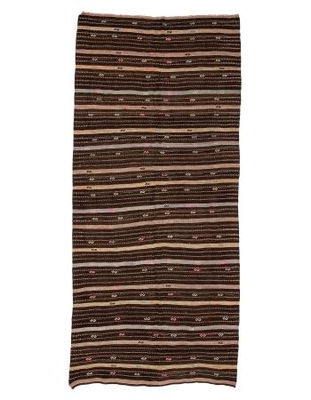"""Striped Vintage Brown Kilim Rug - 5`7"""" x 12`4"""""""