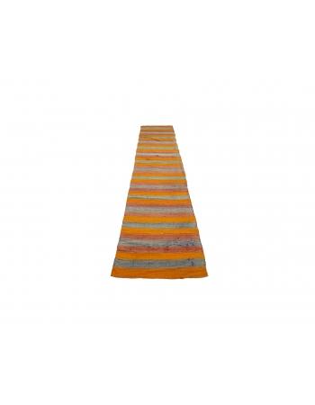 "Orange & Blue Striped Kilim Runner - 2`6"" x 12`1"""
