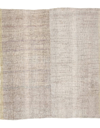 "Vintage Light Gray Modern Kilim Rug - 7`0"" x 7`7"""