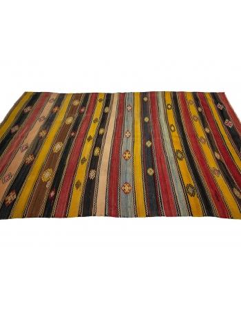 "Vintage Turkish Striped Kilim Rug - 5`11"" x 10`0"""