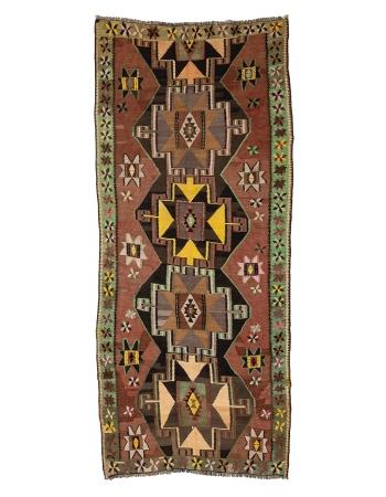 """Vintage One of a Kind Turkish Kilim Rug - 5`11"""" x 10`0"""""""