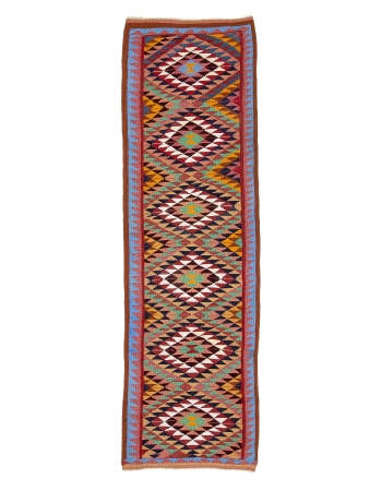"Colorful Vintage Decorative Kilim Runner - 3`1"" x 10`6"""