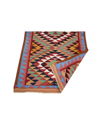 "Colorful Vintage Decorative Kilim Runner - 3`1"" x 10`6"""