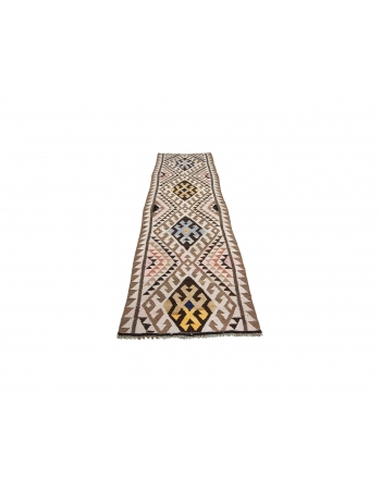 "Vintage Decorative Turkish Kilim Runner - 3`1"" x 10`6"""