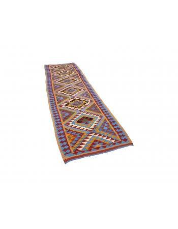 "Colorful Vintage Herki Kilim Runner - 3`2"" x 9`7"""