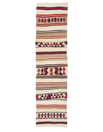 "Vintage Decorative Herki Kilim Runner - 2`10"" x 11`1"""