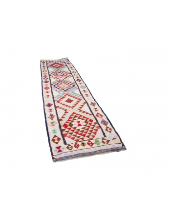 "Colorful Unique Vintage Herki Runner - 3`3"" x 11`3"""