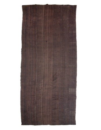 "Brown Vintage Oversized Turkish Tente Kilim Rug - 10`6"" x 24`1"""