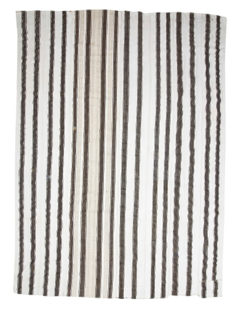 "Oversized White & Gray Vintage Kilim Rug - 12`8"" x 17`1"""