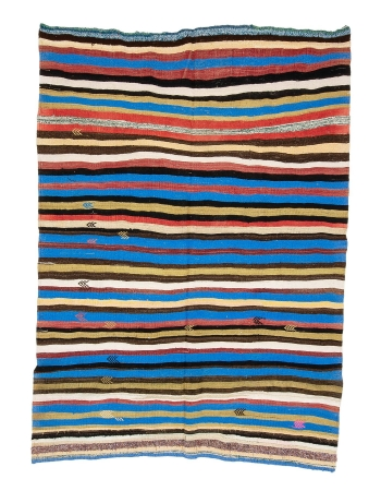 "Colorful Striped Vintage Kilim Rug - 7`0"" x 9`10"""