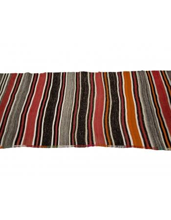 """Red & Gray Striped Vintage Kilim Rug - 3`3"""" x 10`3"""""""