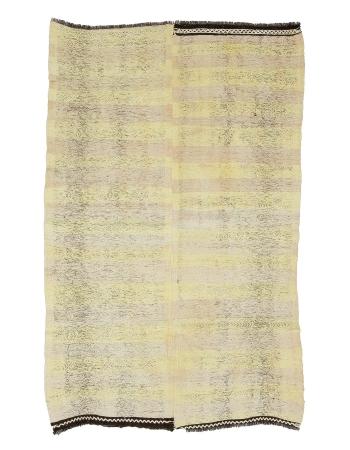 "Yellow Vintage Decorative Turkish Kilim Rug - 4`9"" x 7`7"""