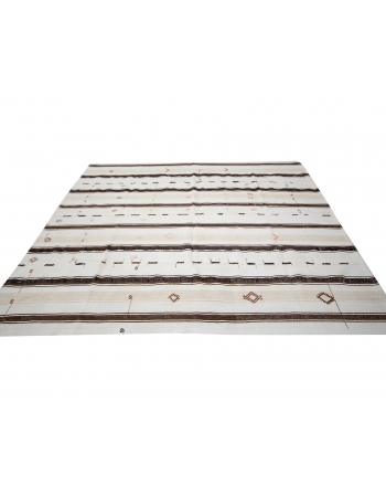 "Striped Vintage Turkish Kilim Rug - 7`9"" x 8`8"""