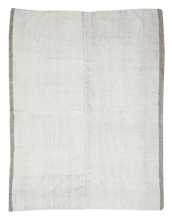"White & Gray Vintage Large Kilim Rug - 8`0"" x 10`2"""