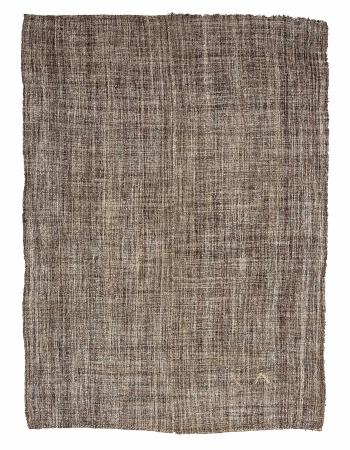 "Brown Plain Vintage Modern Kilim Rug - 7`3"" x 10`3"""