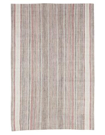 "Pink & Gray Striped Vintage Modern Kilim Rug - 6`1"" x 9`1"""
