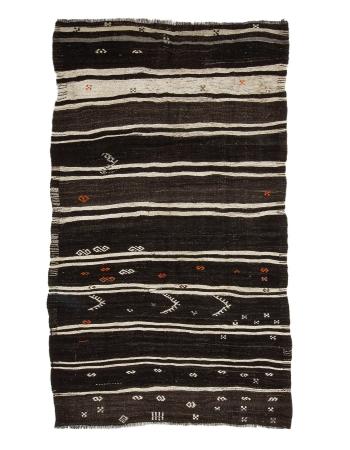 "Brown & Off White Striped Kilim Rug - 5`5"" x 9`4"""