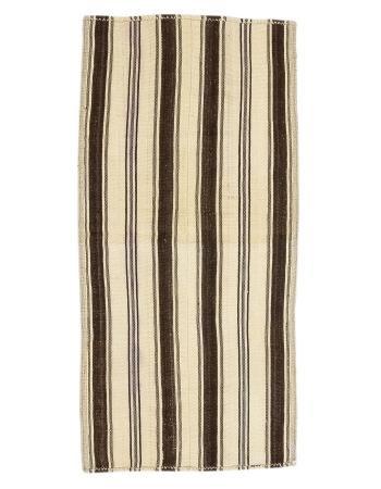"""Ivory & Brown Striped Vintage Kilim Rug - 2`11"""" x 6`0"""""""