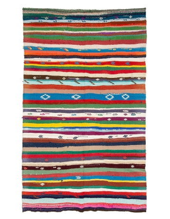 "Colorful Striped Vintage Kilim Rug - 6`7"" x 10`8"""