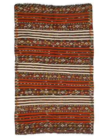 "Orange Striped Ebroidered Kilim Rug - 6`7"" x 10`4"""