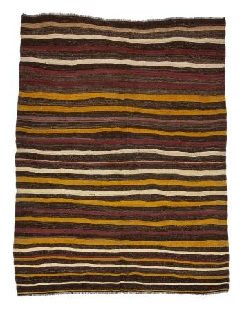"Striped Vintage Goat Hair Kilim Rug - 7`3"" x 9`5"""