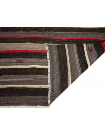 """Orange & Black Vintage Goat Hair Kilim Rug - 5`10"""" x 9`7"""""""